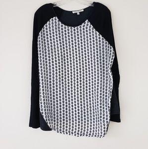 Black Rainn Tunic Black White Pattern Mix Material